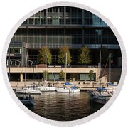Chicago River Boats Round Beach Towel