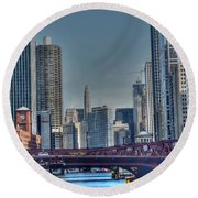 Chicago River East Round Beach Towel