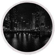 Chicago River Night Skyline Round Beach Towel
