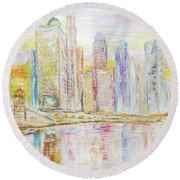Chicago River Skyline Round Beach Towel