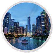 Chicago River Sunset Round Beach Towel