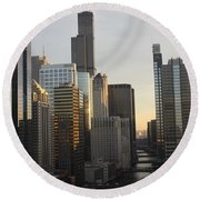 Chicago River View Round Beach Towel