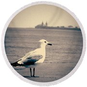 Chicago Seagull Round Beach Towel