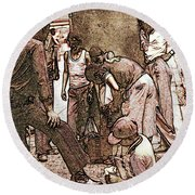 Chicago Shoeshine Boys - Pencil Round Beach Towel