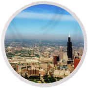 Chicago Skyline - 1990s Round Beach Towel
