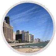 Chicago Skyline And Beach Round Beach Towel