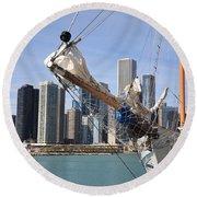 Chicago Skyline And Tall Ship Round Beach Towel
