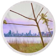 Chicago Skyline - The View From Montrose Point Round Beach Towel