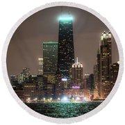 Chicago Skyline At Night North Ave Beach V2 Dsc1732 Round Beach Towel