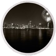 Chicago Skyline Fireworks Bw Round Beach Towel by Steve Gadomski