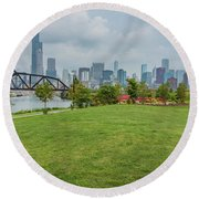 Chicago Skyline From The Southside Round Beach Towel