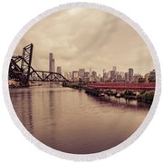 Chicago Skyline From The Southside With Red Bridge Round Beach Towel