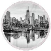 Chicago Skyline - Lincoln Park Round Beach Towel