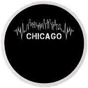 Chicago Skyline Nurse Heartbeat Apparel Round Beach Towel