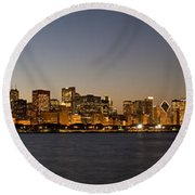 Chicago Skyline Panorama Round Beach Towel