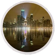 Chicago Skyline With Lindbergh Beacon On Palmolive Building Round Beach Towel
