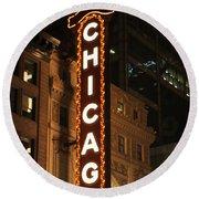 Chicago Theater At Night Round Beach Towel