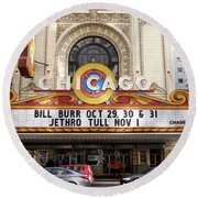 Chicago Theater Marquee Jethro Tull Signage Round Beach Towel