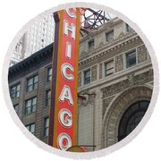 Chicago Theater Sign Round Beach Towel