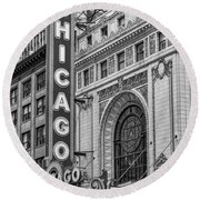 Chicago Theatre Bw Round Beach Towel