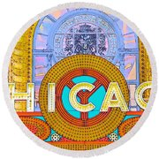 Chicago Theatre Round Beach Towel