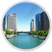 Chicago Tour Boats Parked On The River Round Beach Towel