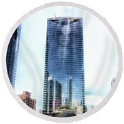 Chicago Under Construction On The River 02 Round Beach Towel