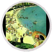 Chicago, Vacation City, Areal View On The Beach Round Beach Towel