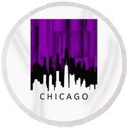 Chicago Violet Vertical  Round Beach Towel