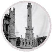 Chicago Water Tower 1933 Round Beach Towel