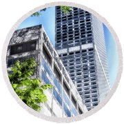 Chicago Water Tower Place Facade And Signage Round Beach Towel