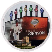 Chicago White Sox Lance Johnson Scoreboard Round Beach Towel