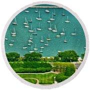 Chicago's Dusable Harbor  Round Beach Towel