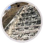 Chichen Itza Up Close Round Beach Towel
