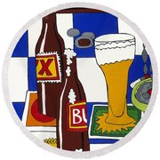 Chichis Y Cervesas Round Beach Towel by Rojax Art