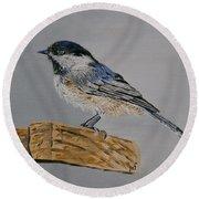 Chickadee Bird Round Beach Towel