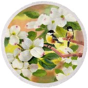Chickadees In The Dogwood Tree Round Beach Towel