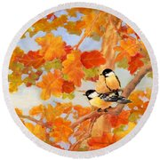 Chickadees With Oak Leaves Round Beach Towel