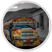 Chicken Bus - Antigua Guatemala Round Beach Towel