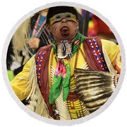 Pow Wow Chicken Dancer Round Beach Towel