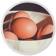 Chicken Eggs Round Beach Towel