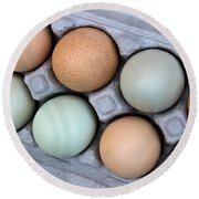 Chicken Eggs In Carton Round Beach Towel
