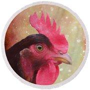 Chicken Portrait - Painting Round Beach Towel