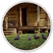 Chickens - Log House - Farm Round Beach Towel