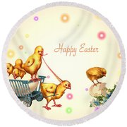 Chicks And Eggs - Happy Easter Round Beach Towel