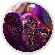 Chicks Hatched Fluffy Young Animal  Round Beach Towel