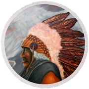 Chief Eagle Cloud Round Beach Towel