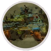 Chieftain Tank Abstract Round Beach Towel