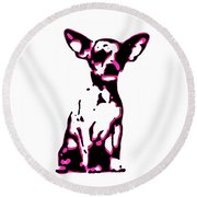Chihuahua In Pink Round Beach Towel