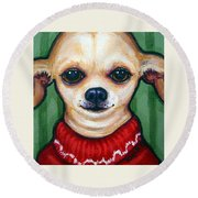 Chihuahua In Red Sweater - Boss Dog Round Beach Towel